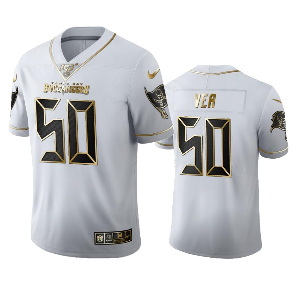 Tampa Bay Buccaneers #50 Vita Vea Men's Nike White Golden Edition Vapor Limited NFL 100 Jersey