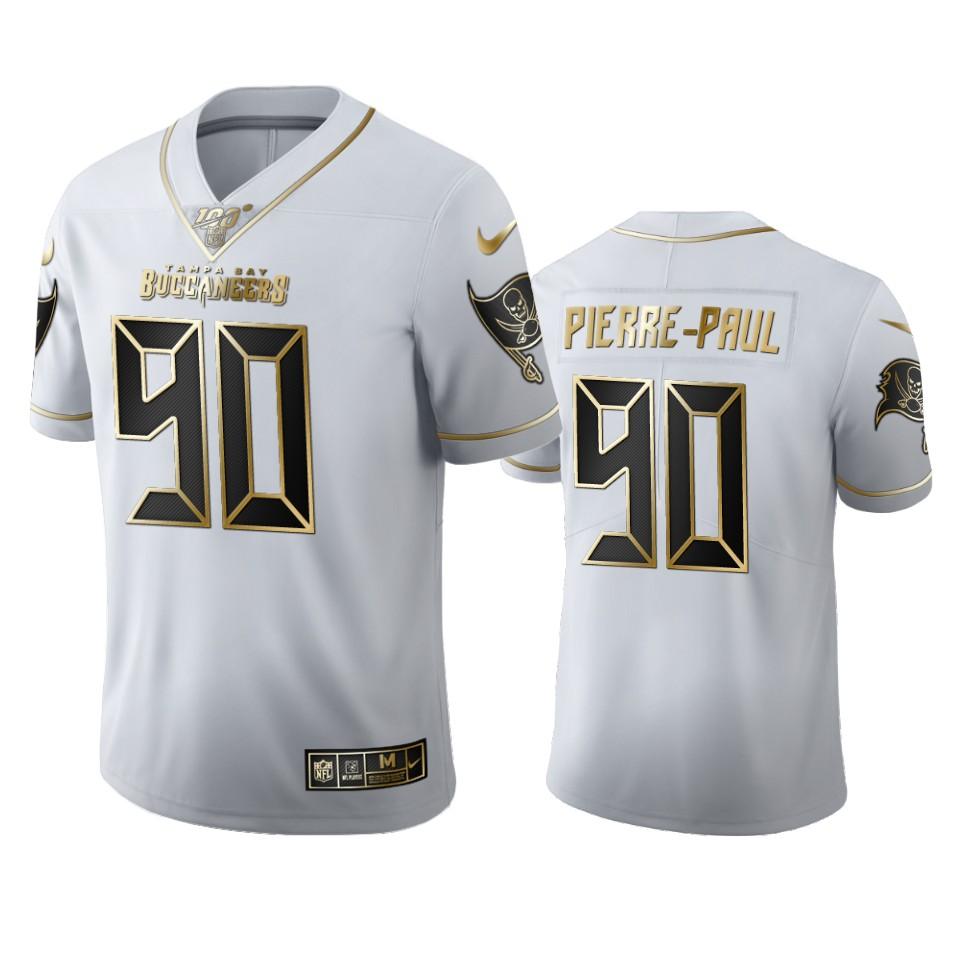 Tampa Bay Buccaneers #90 Jason Pierre-Paul Men's Nike White Golden Edition Vapor Limited NFL 100 Jersey