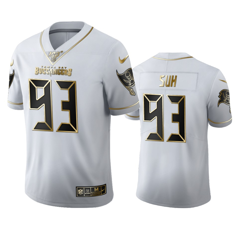 Tampa Bay Buccaneers #93 Ndamukong Suh Men's Nike White Golden Edition Vapor Limited NFL 100 Jersey