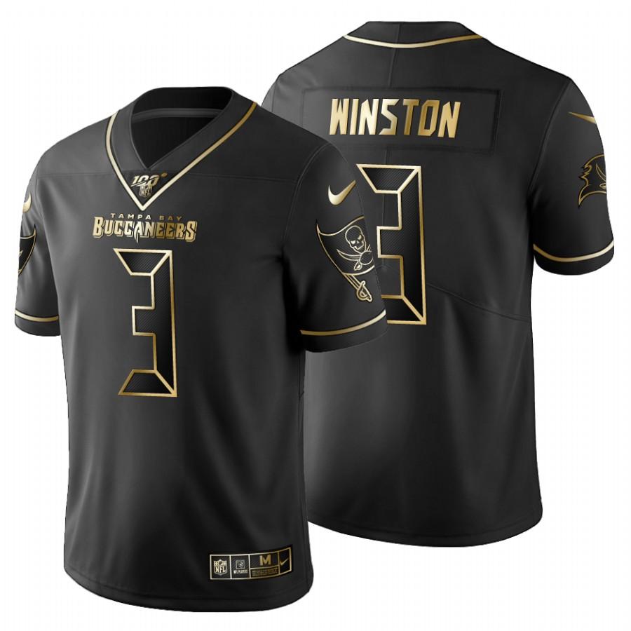 Tampa Bay Buccaneers #3 Jameis Winston Men's Nike Black Golden Limited NFL 100 Jersey