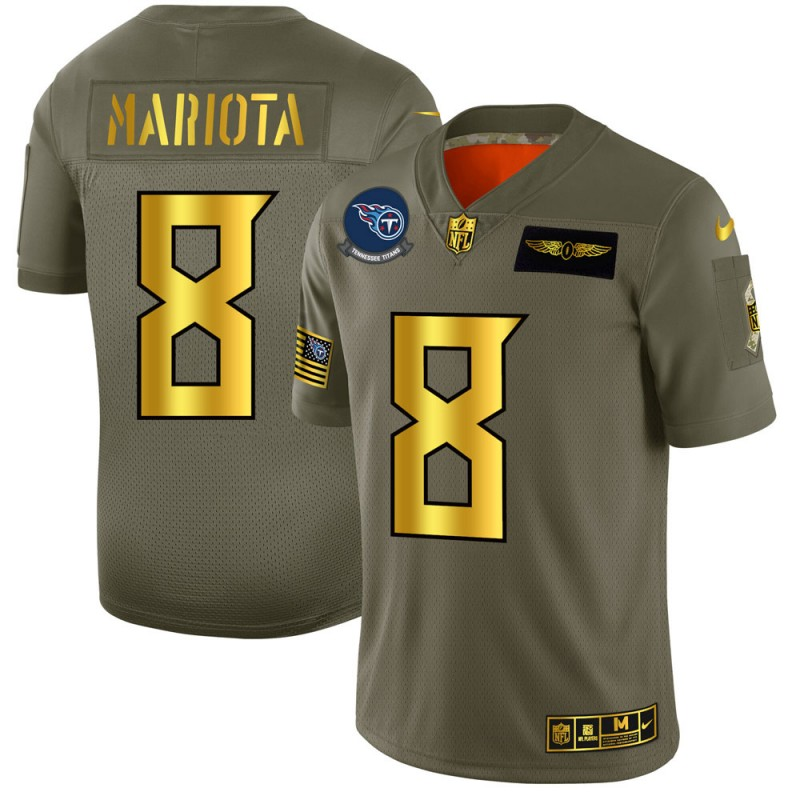 Tennessee Titans #8 Marcus Mariota NFL Men's Nike Olive Gold 2019 Salute to Service Limited Jersey