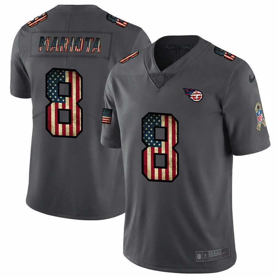 Tennessee Titans #8 Marcus Mariota Nike 2018 Salute to Service Retro USA Flag Limited NFL Jersey