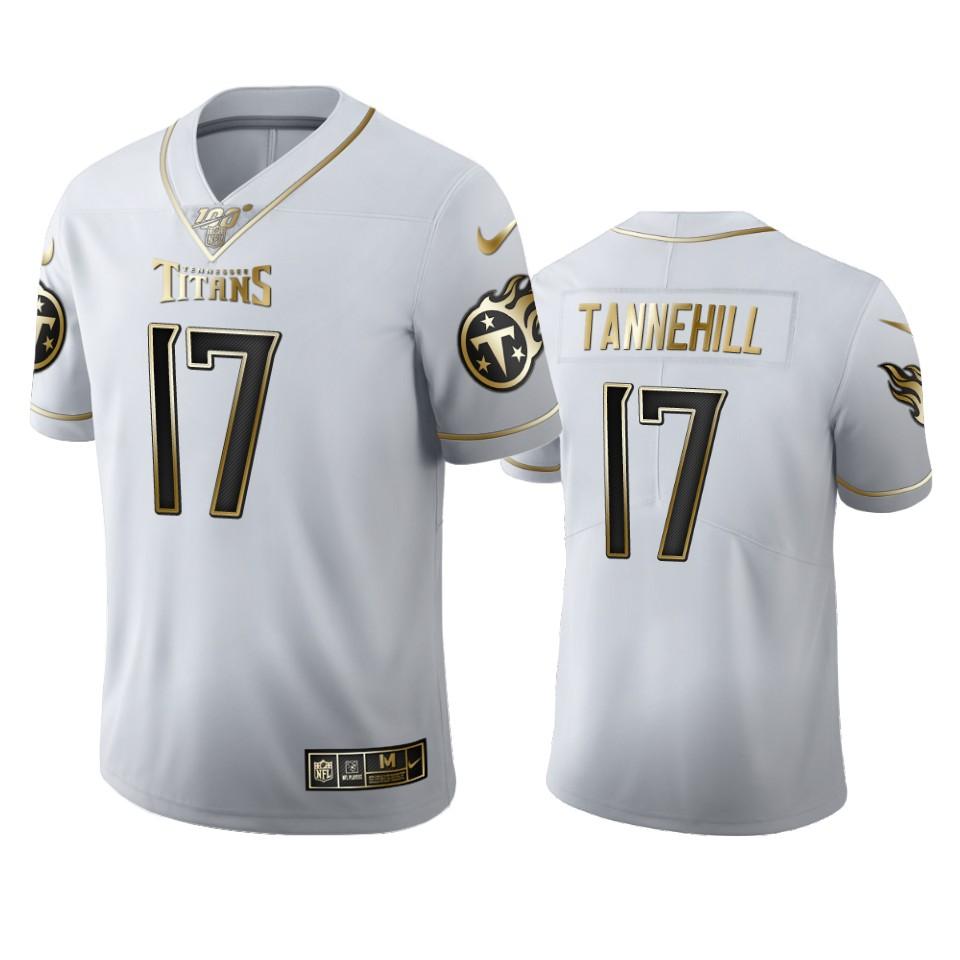 Tennessee Titans #17 Ryan Tannehill Men's Nike White Golden Edition Vapor Limited NFL 100 Jersey