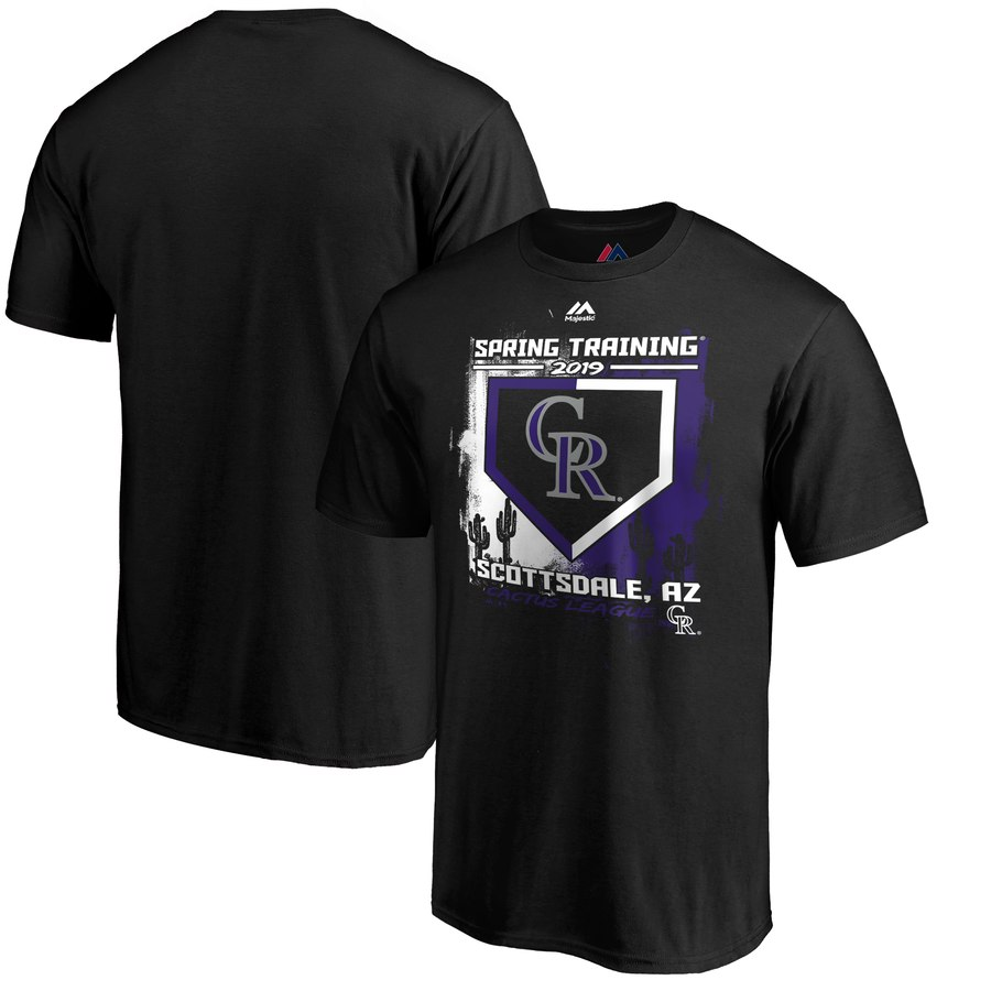 Colorado Rockies Majestic 2019 Spring Training Cactus League Base on Balls T-Shirt Black