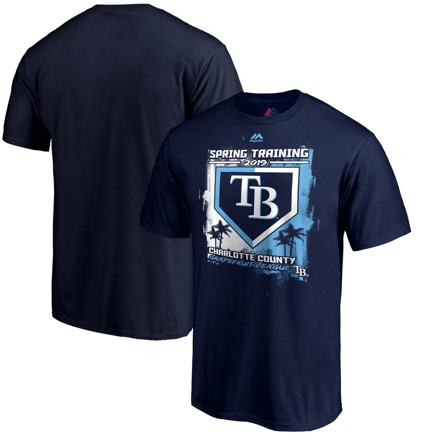Tampa Bay Rays Majestic 2019 Spring Training Grapefruit League Base on Ball T-Shirt Navy