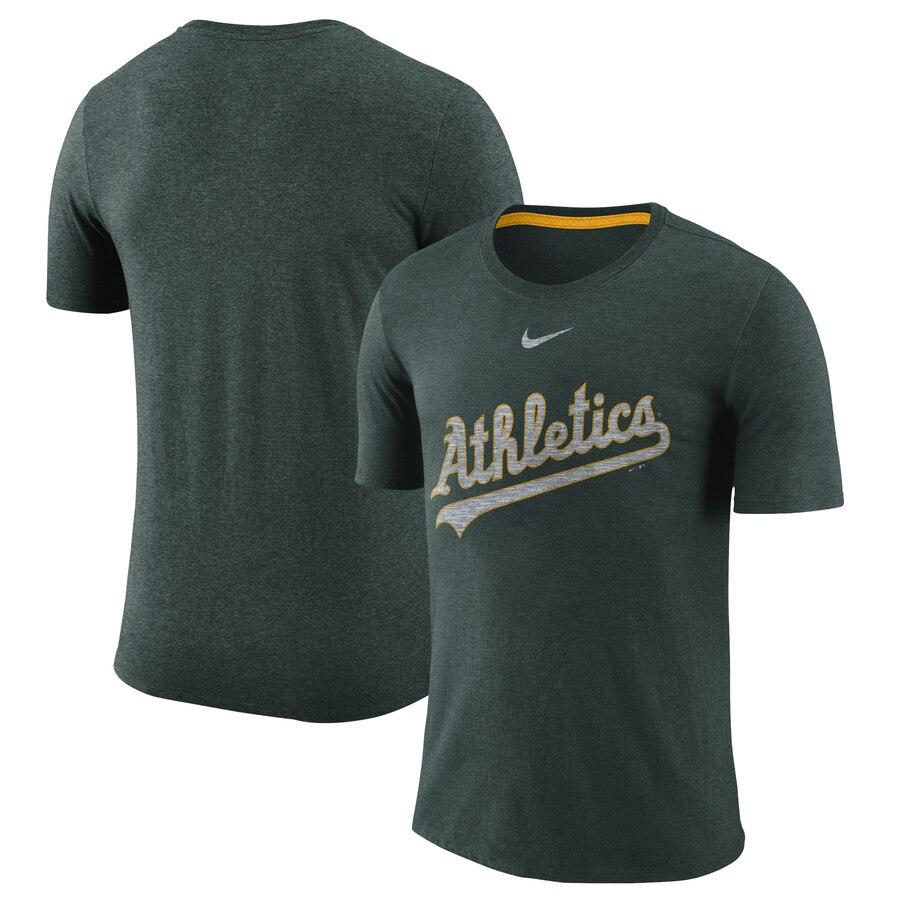 Oakland Athletics Nike Wordmark Tri-Blend T-Shirt Green