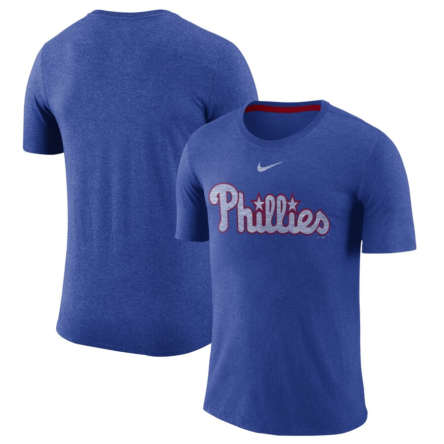 Philadelphia Phillies Nike Wordmark Tri-Blend T-Shirt Royal
