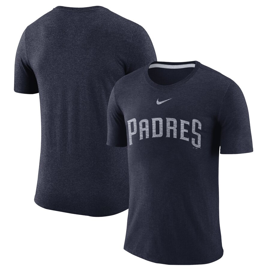 San Diego Padres Nike Wordmark Tri-Blend T-Shirt Navy