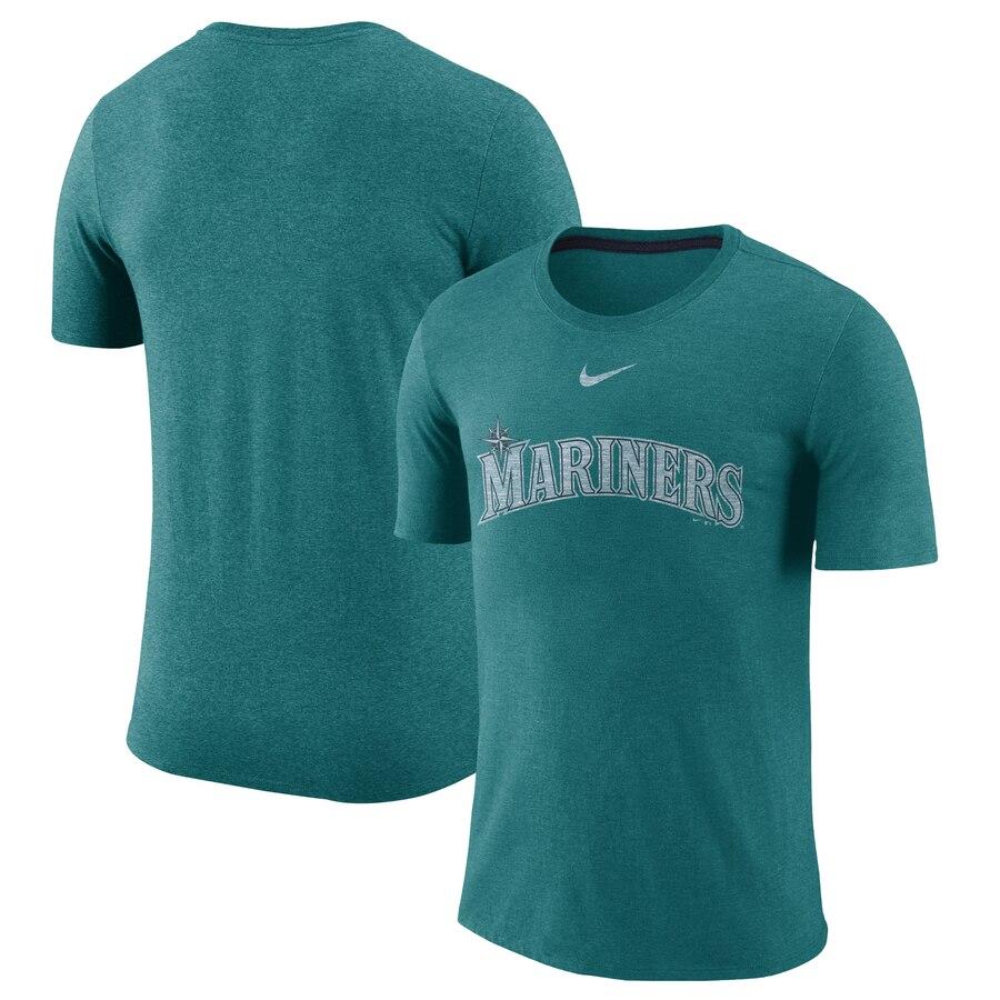 Seattle Mariners Nike Wordmark Tri-Blend T-Shirt Teal