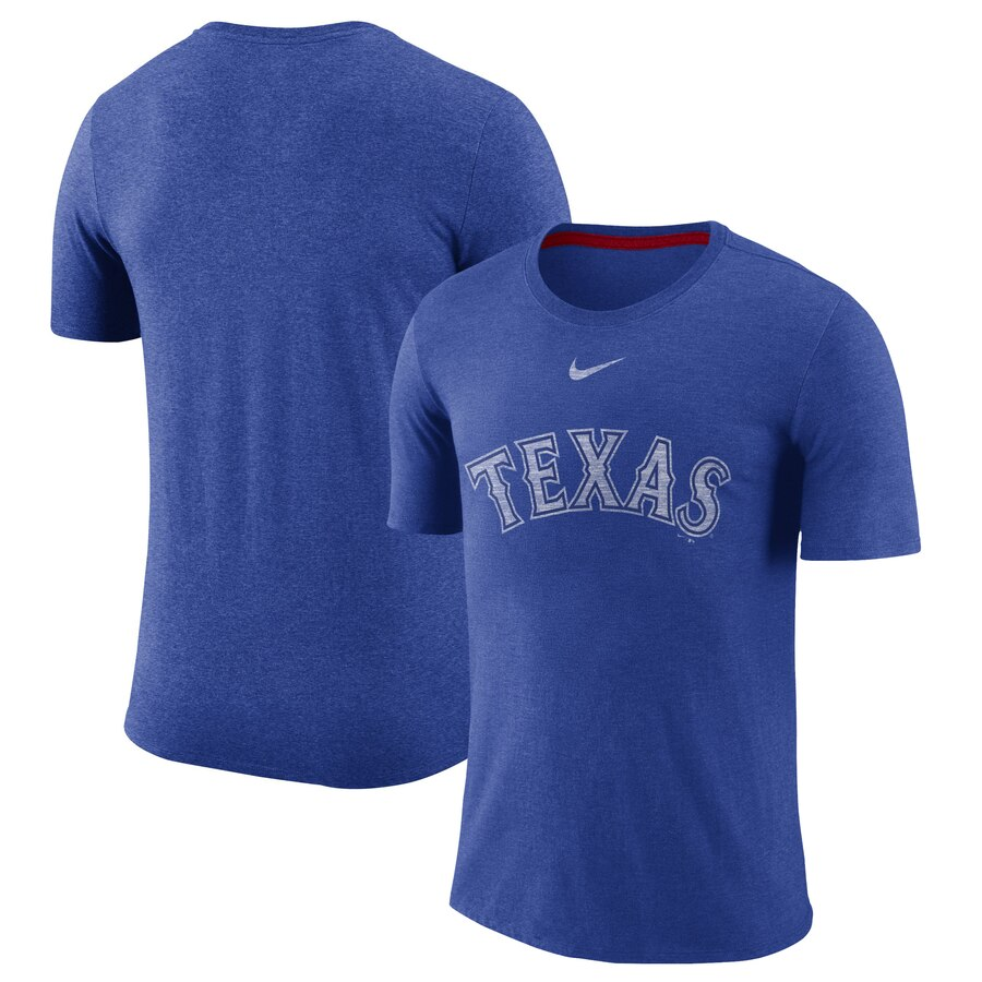 Texas Rangers Nike Wordmark Tri-Blend T-Shirt Royal