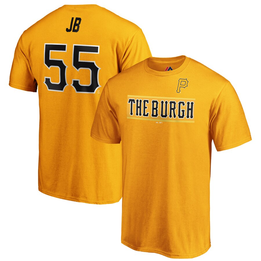 Pittsburgh Pirates #55 Josh Bell JB Majestic 2019 MLB Little League Classic Name & Number T-Shirt Gold