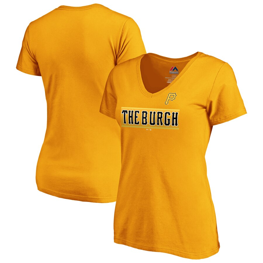 Pittsburgh Pirates Majestic Women's 2019 MLB Little League Classic V-Neck T-Shirt Gold