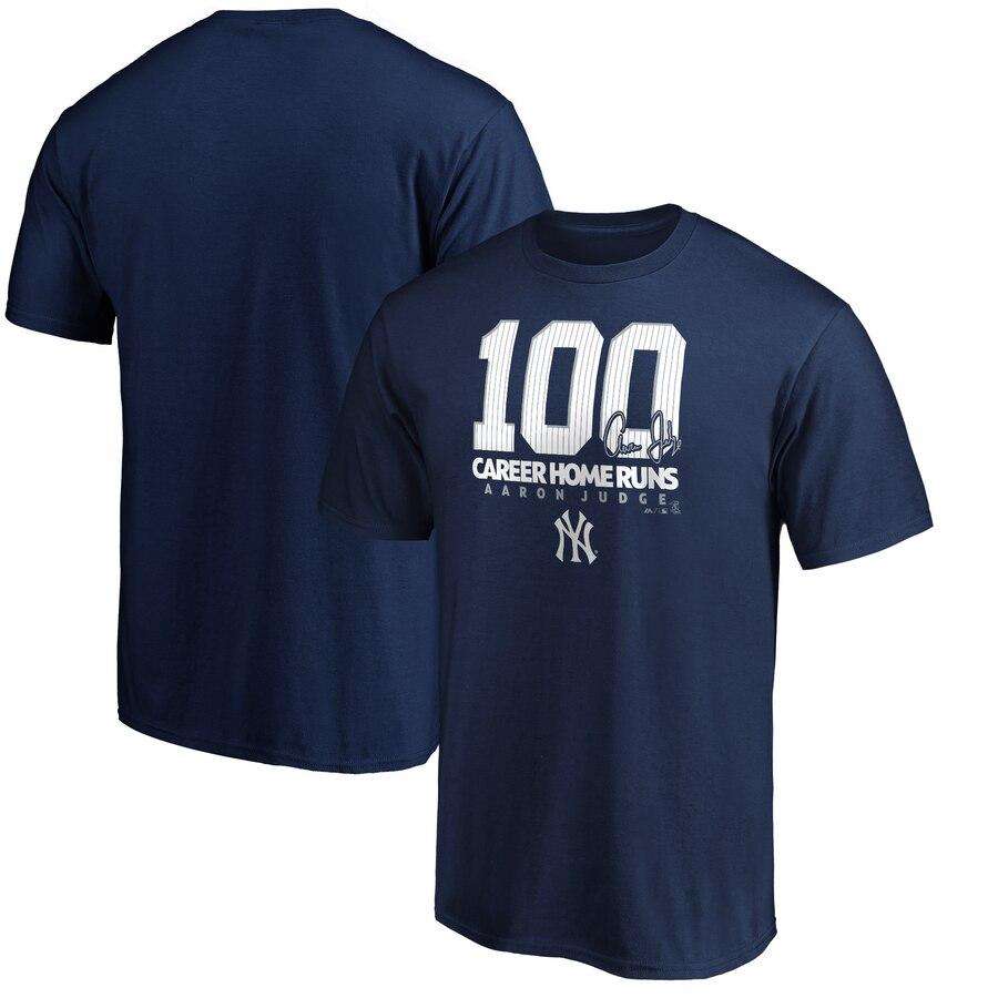 New York Yankees #99 Aaron Judge Majestic 100th Career Home Run T-Shirt Navy