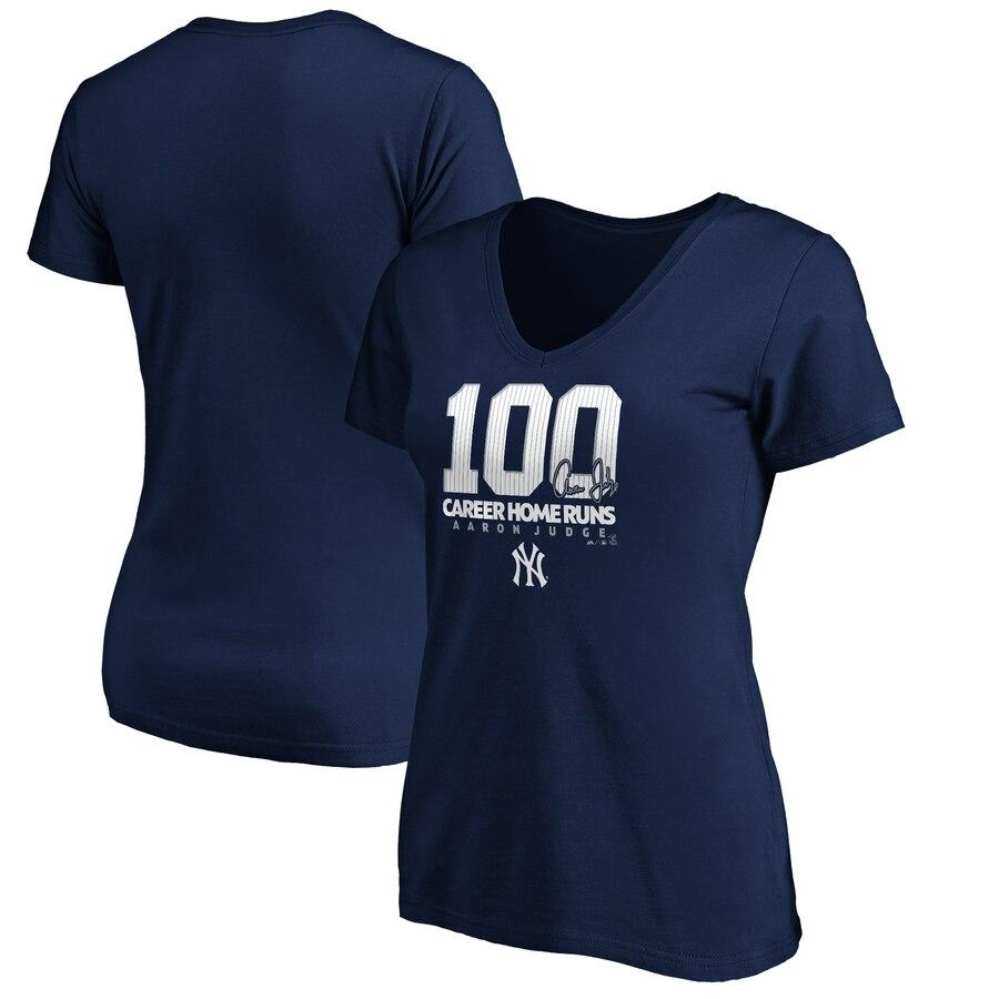 New York Yankees #99 Aaron Judge Majestic Women's 100th Career Home Run V-Neck T-Shirt Navy