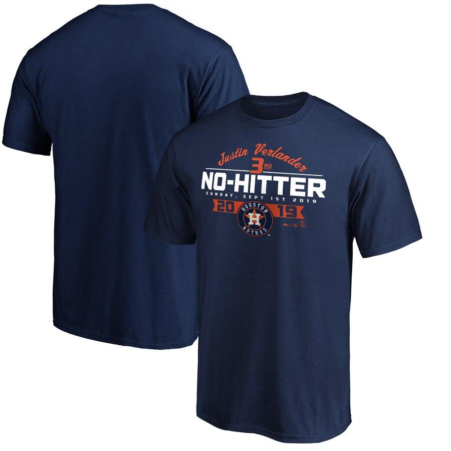 Houston Astros #35 Justin Verlander Majestic No-Hitter T-Shirt Navy