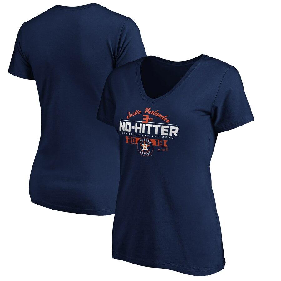 Houston Astros #35 Justin Verlander Majestic Women's No-Hitter V-Neck T-Shirt Navy