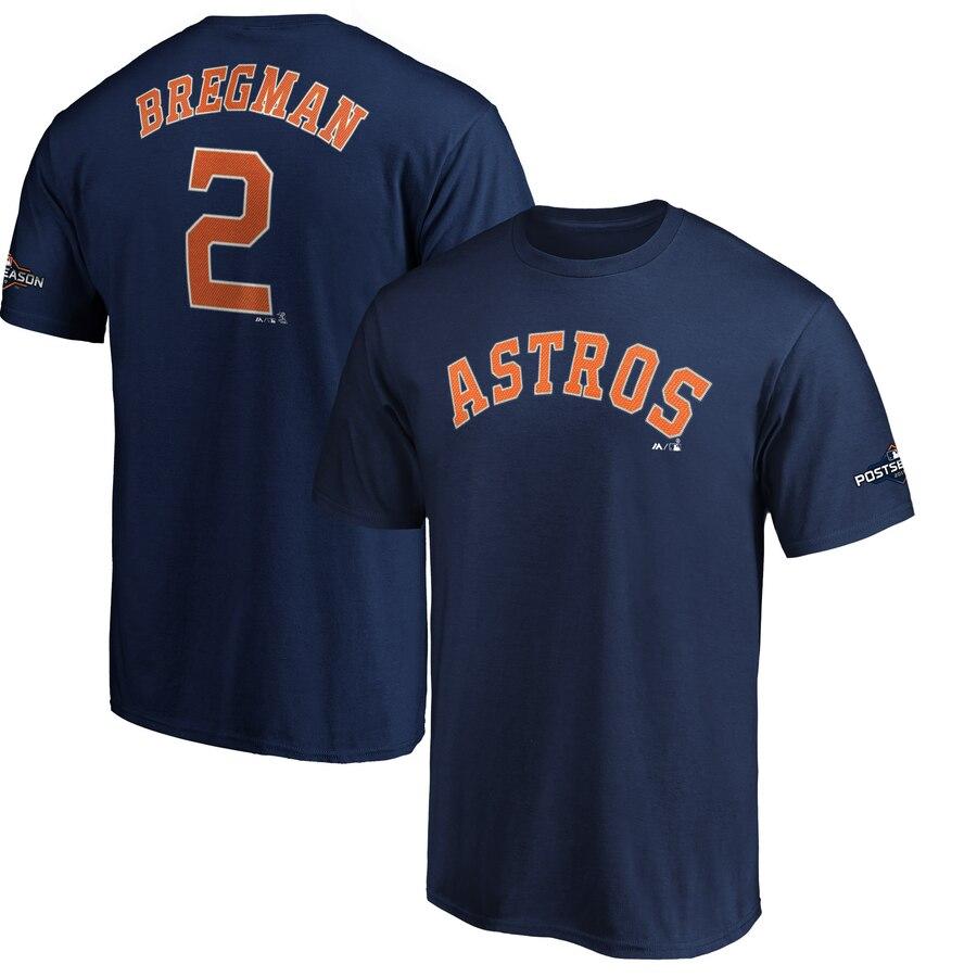 Houston Astros #2 Alex Bregman Majestic 2019 Postseason Name & Number T-Shirt Navy