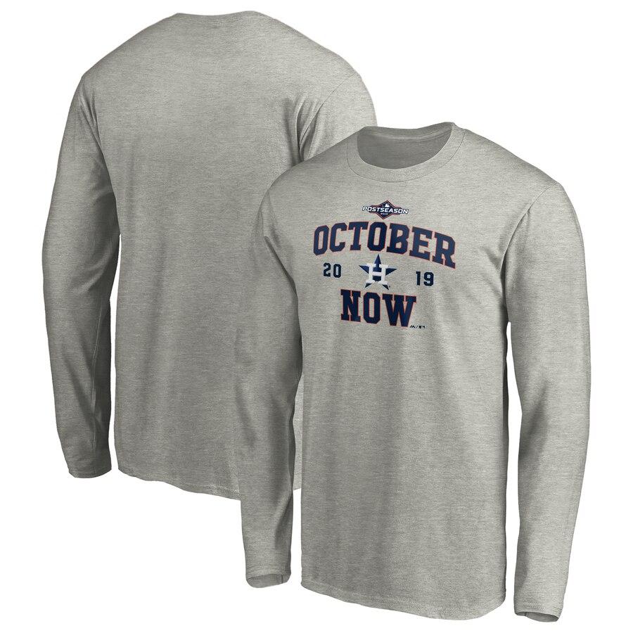 Houston Astros Majestic 2019 Postseason ACE Long Sleeve T-Shirt Heather Gray