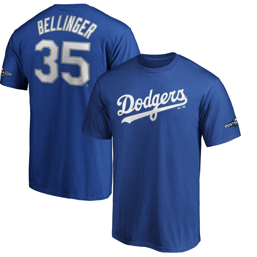 Los Angeles Dodgers #35 Cody Bellinger Majestic 2019 Postseason Name & Number T-Shirt Royal
