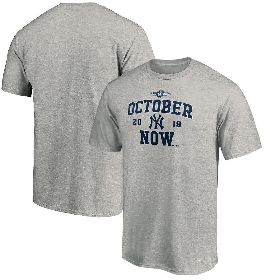 New York Yankees Majestic 2019 Postseason ACE T-Shirt Heather Gray