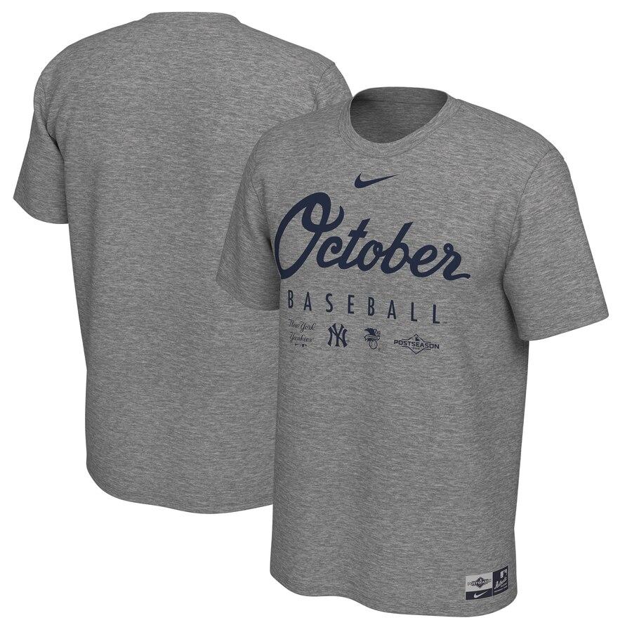 New York Yankees Nike 2019 Postseason Legend October T-Shirt Heather Gray