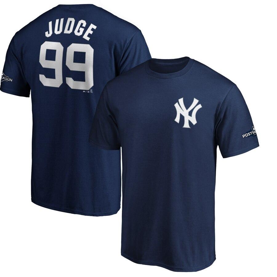 New York Yankees #99 Aaron Judge Majestic 2019 Postseason Name & Number T-Shirt Navy