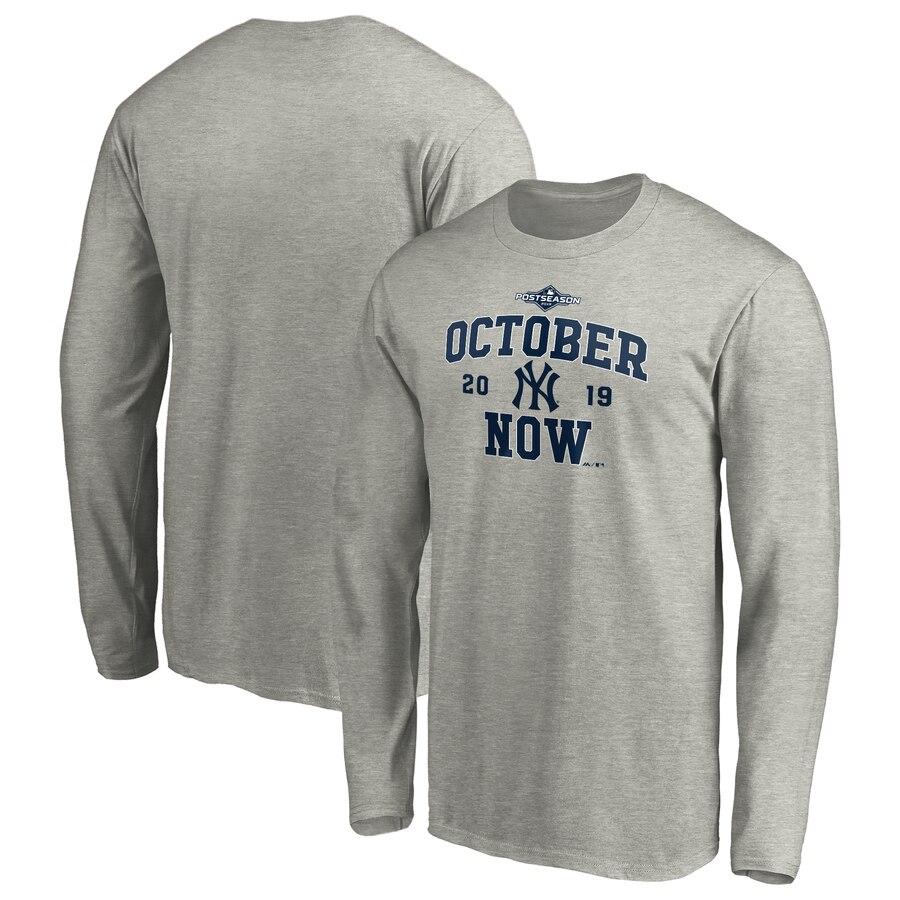 New York Yankees Majestic 2019 Postseason ACE Long Sleeve T-Shirt Heather Gray