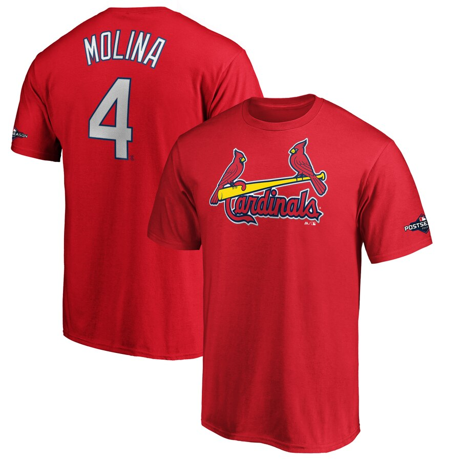 St. Louis Cardinals #4 Yadier Molina Majestic 2019 Postseason Name & Number T-Shirt Red