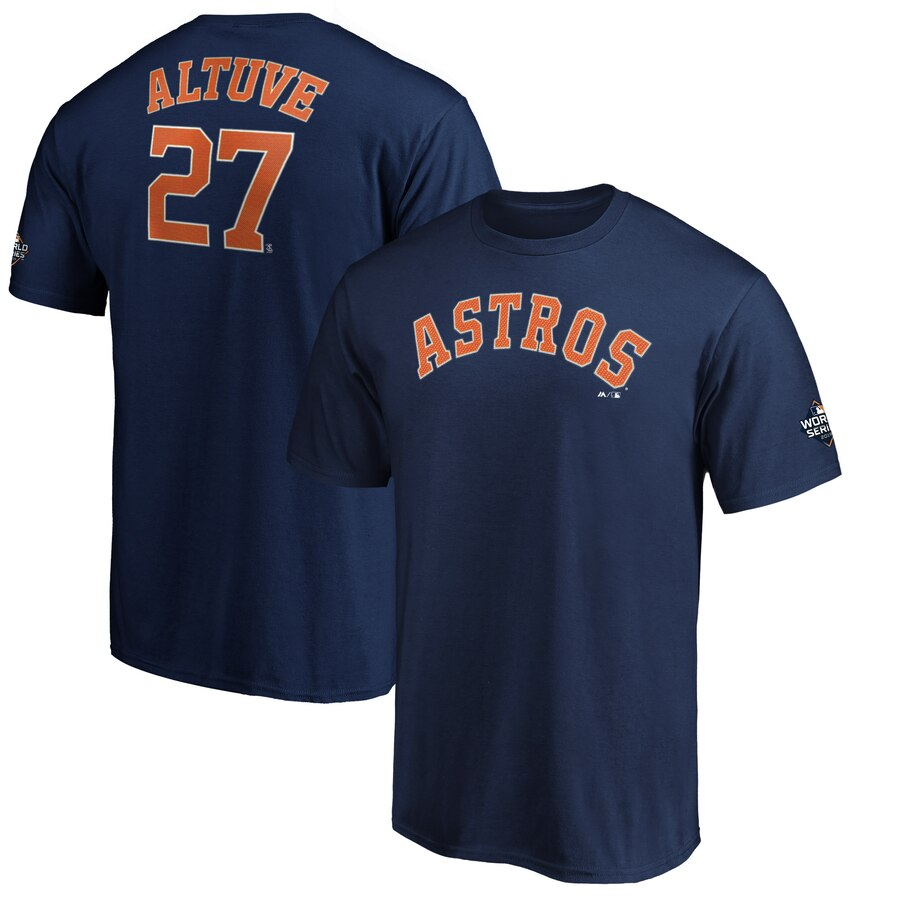 Houston Astros #27 Jose Altuve Majestic 2019 World Series Bound Name & Number T-Shirt Navy