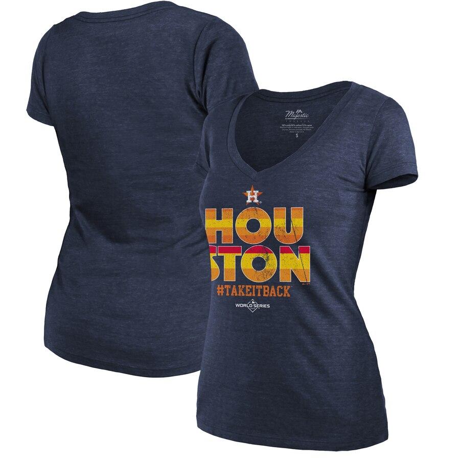 Houston Astros Majestic Threads Women's 2019 World Series Bound Local Tri-Blend V-Neck T-Shirt Navy