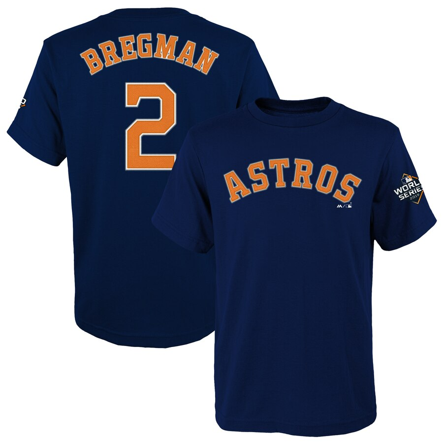 Houston Astros #2 Alex Bregman Majestic Youth 2019 World Series Bound Name & Number T-Shirt Navy