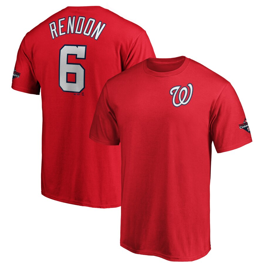 Washington Nationals #6 Anthony Rendon Majestic 2019 World Series Champions Name & Number T-Shirt Red