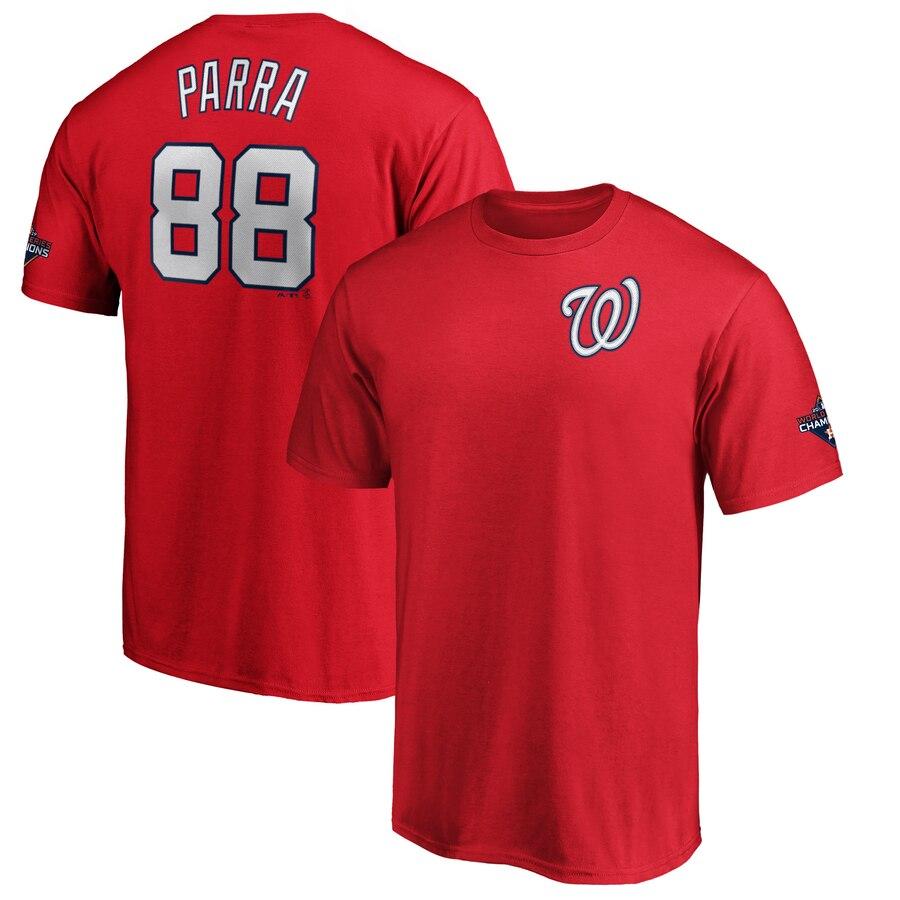 Washington Nationals #88 Gerardo Parra Majestic 2019 World Series Champions Name & Number T-Shirt Red