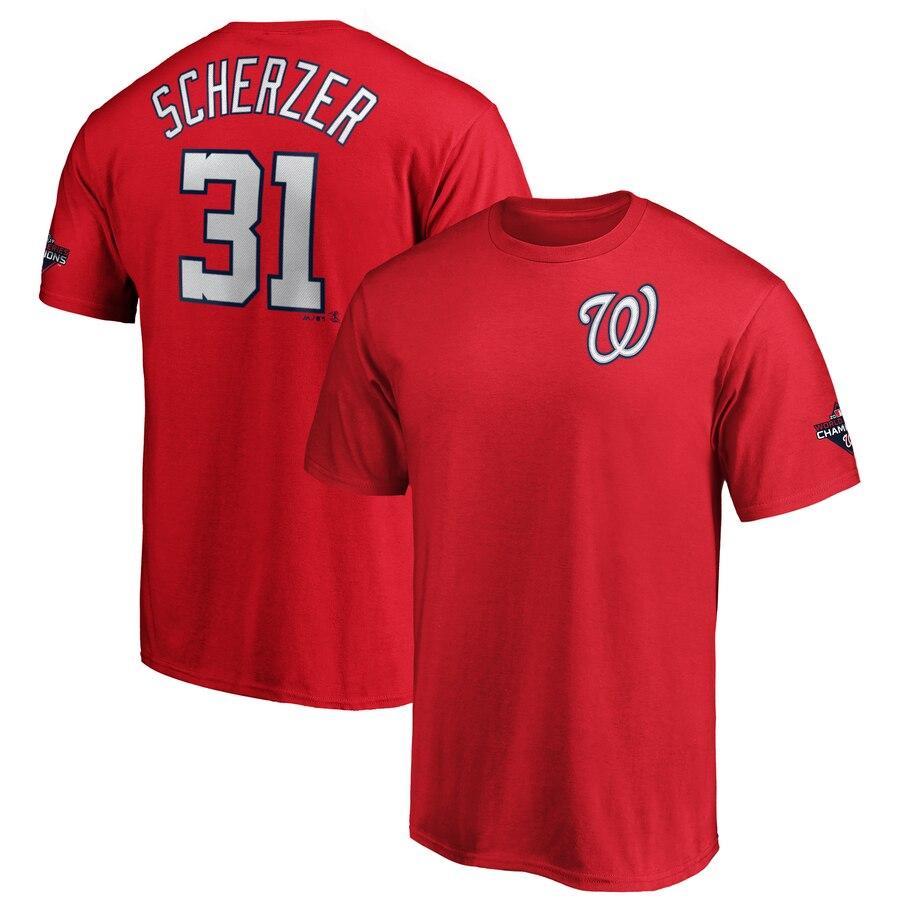 Washington Nationals #31 Max Scherzer Majestic 2019 World Series Champions Name & Number T-Shirt Red