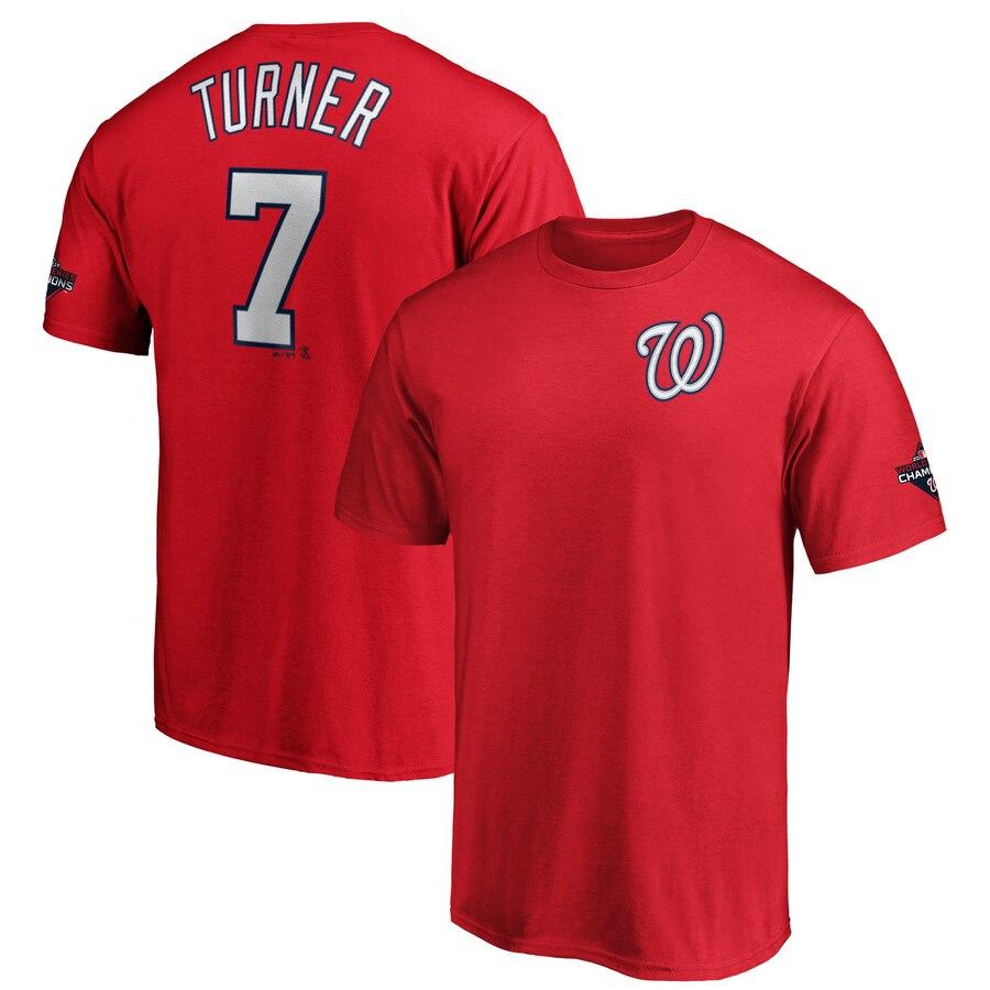 Washington Nationals #7 Trea Turner Majestic 2019 World Series Champions Name & Number T-Shirt Red
