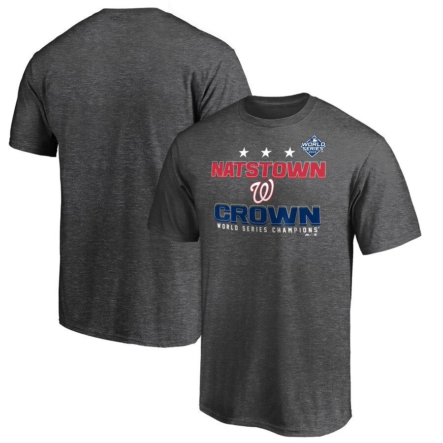 Washington Nationals Majestic 2019 World Series Champions Cut Off T-Shirt Heather Charcoal