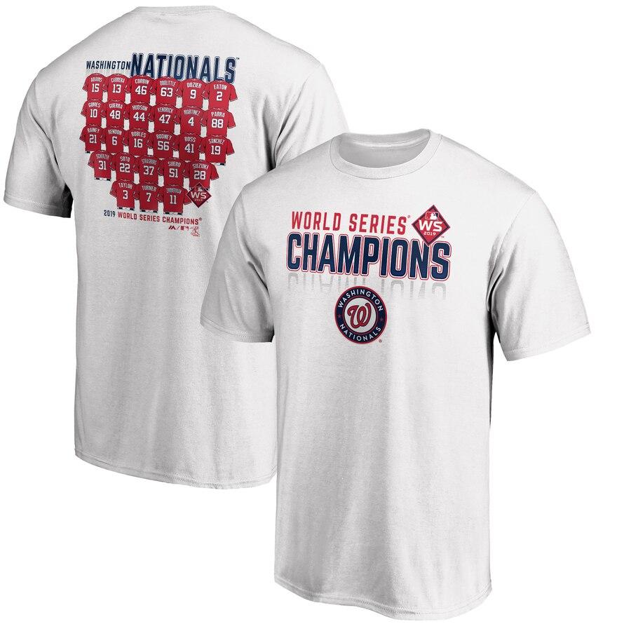 Washington Nationals Majestic 2019 World Series Champions Jersey Roster T-Shirt White