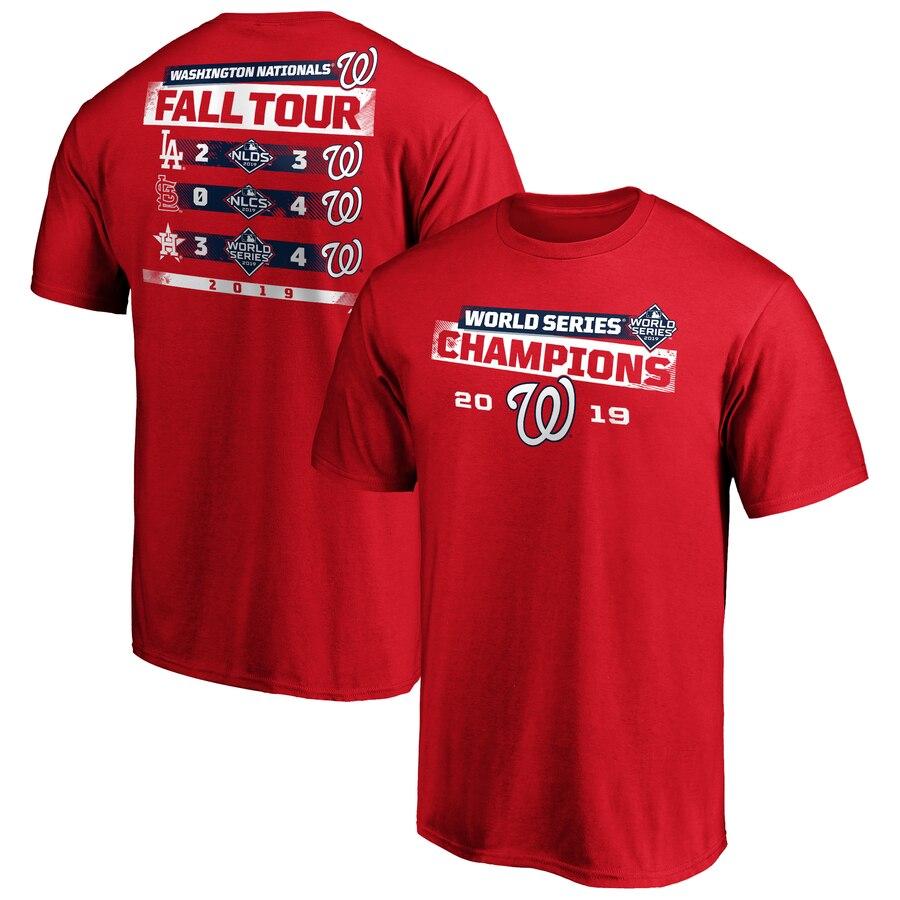 Washington Nationals Majestic 2019 World Series Champions Milestone Schedule T-Shirt Red