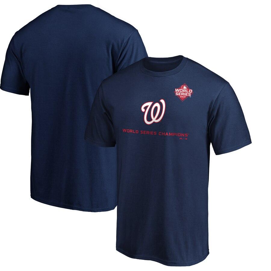 Washington Nationals Majestic 2019 World Series Champions Rally Cap T-Shirt Navy