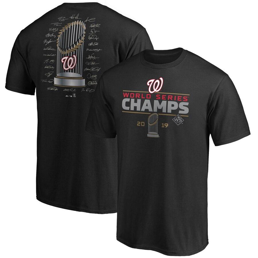 Washington Nationals Majestic 2019 World Series Champions Signature Roster T-Shirt Black