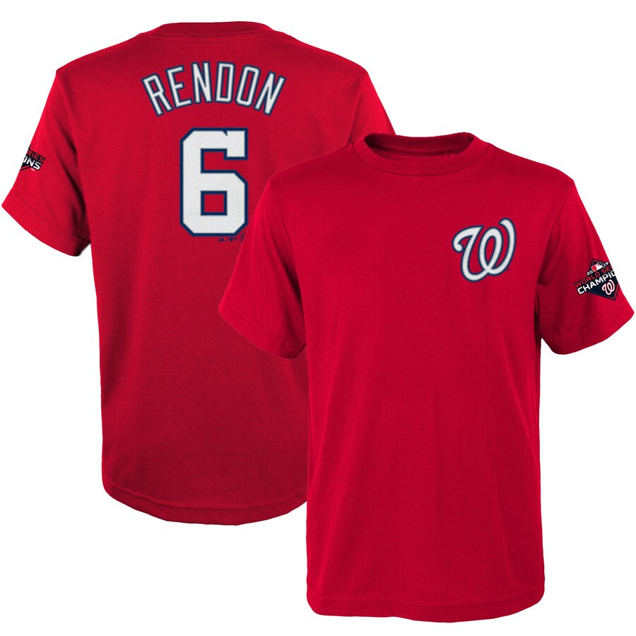 Washington Nationals #6 Anthony Rendon Majestic Youth 2019 World Series Champions Name & Number T-Shirt Red