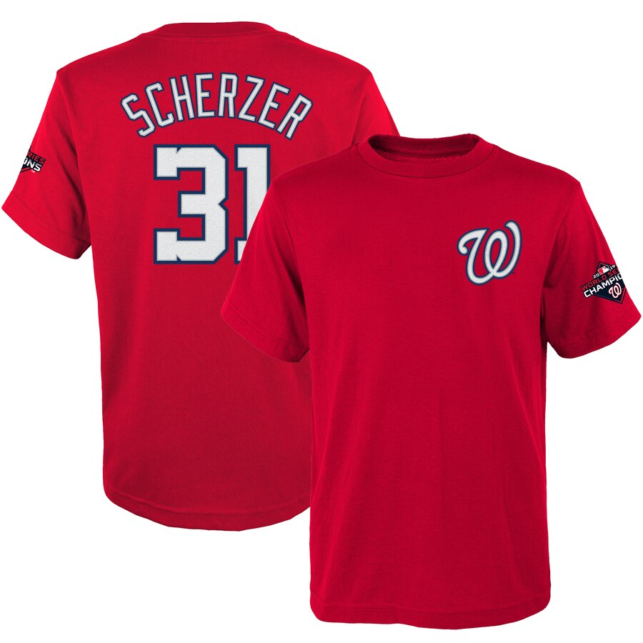Washington Nationals #31 Max Scherzer Majestic Youth 2019 World Series Champions Name & Number T-Shirt Red