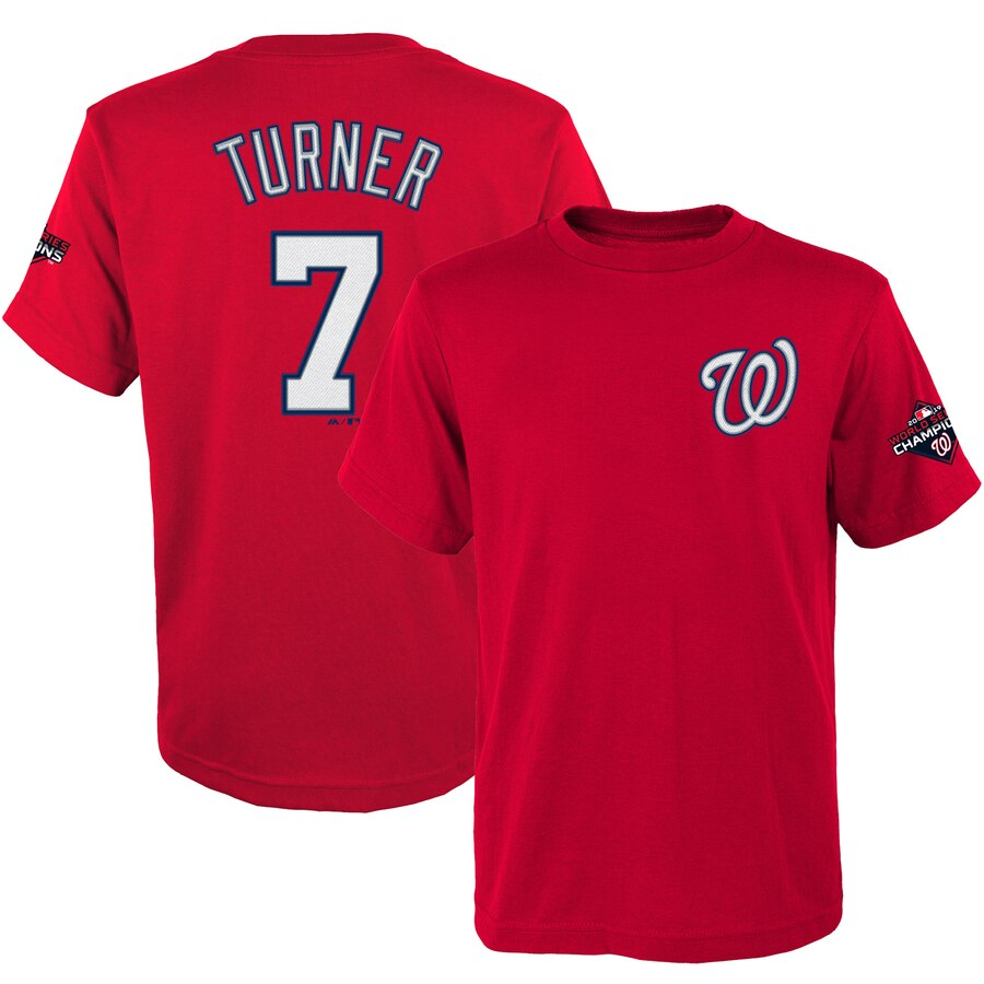 Washington Nationals #7 Trea Turner Majestic Youth 2019 World Series Champions Name & Number T-Shirt Red