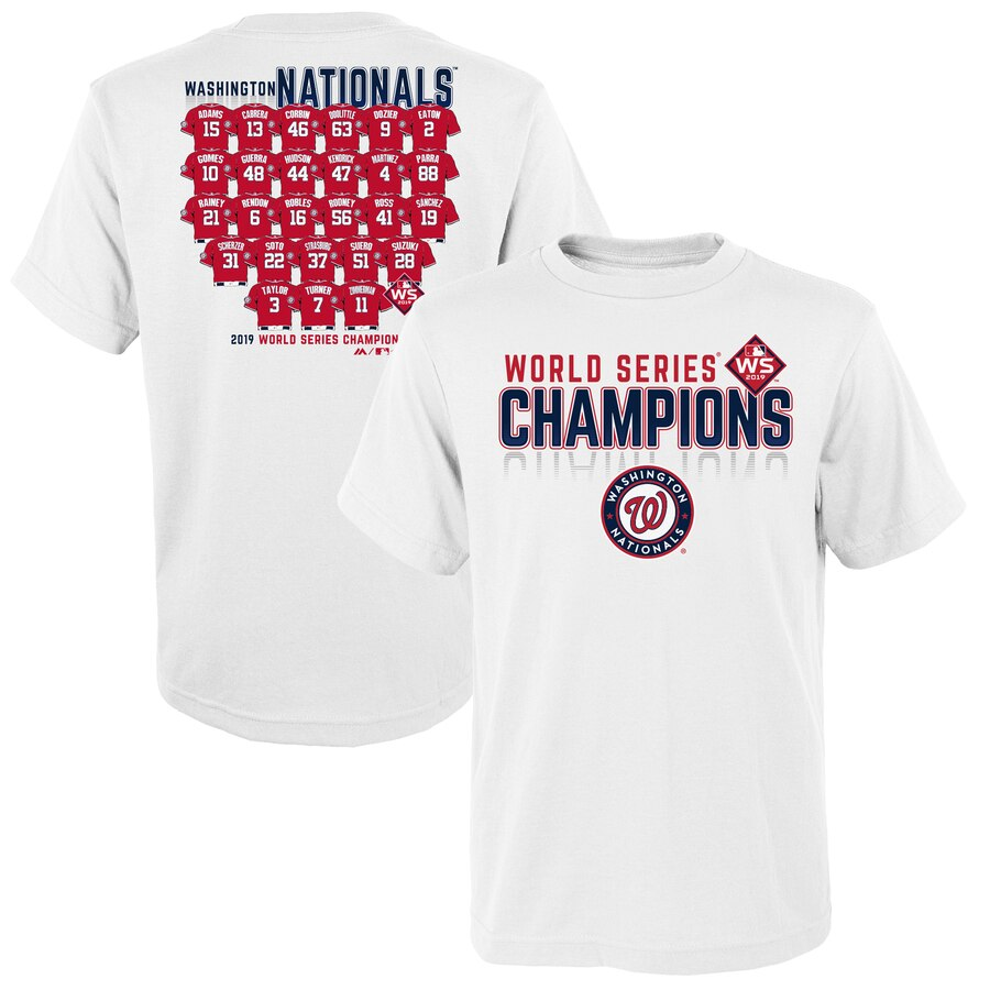 Washington Nationals Majestic Youth 2019 World Series Champions Jersey Roster T-Shirt White