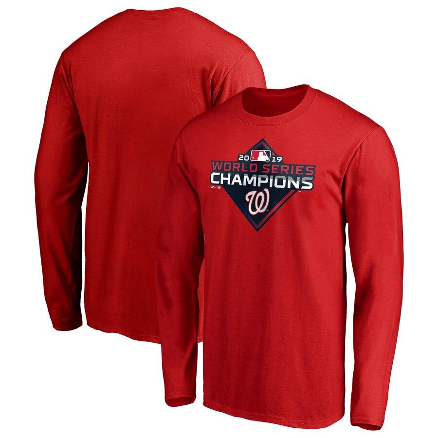 Washington Nationals Majestic 2019 World Series Champions Logo Long Sleeve T-Shirt Red