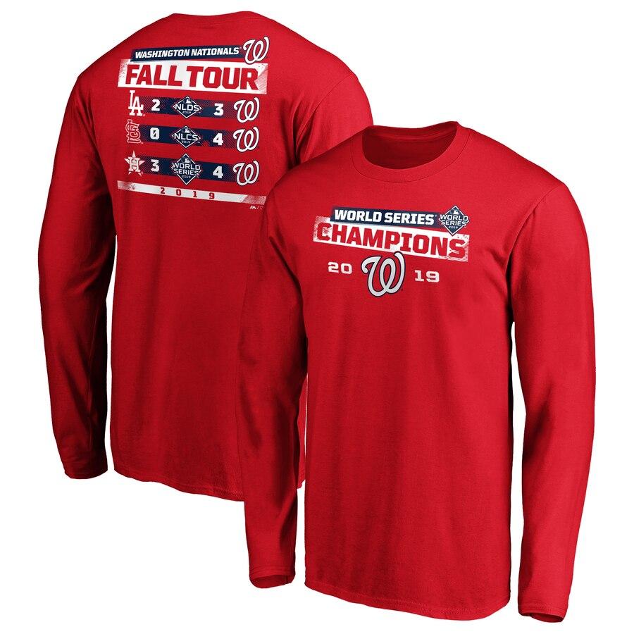 Washington Nationals Majestic 2019 World Series Champions Milestone Schedule Long Sleeve T-Shirt Red