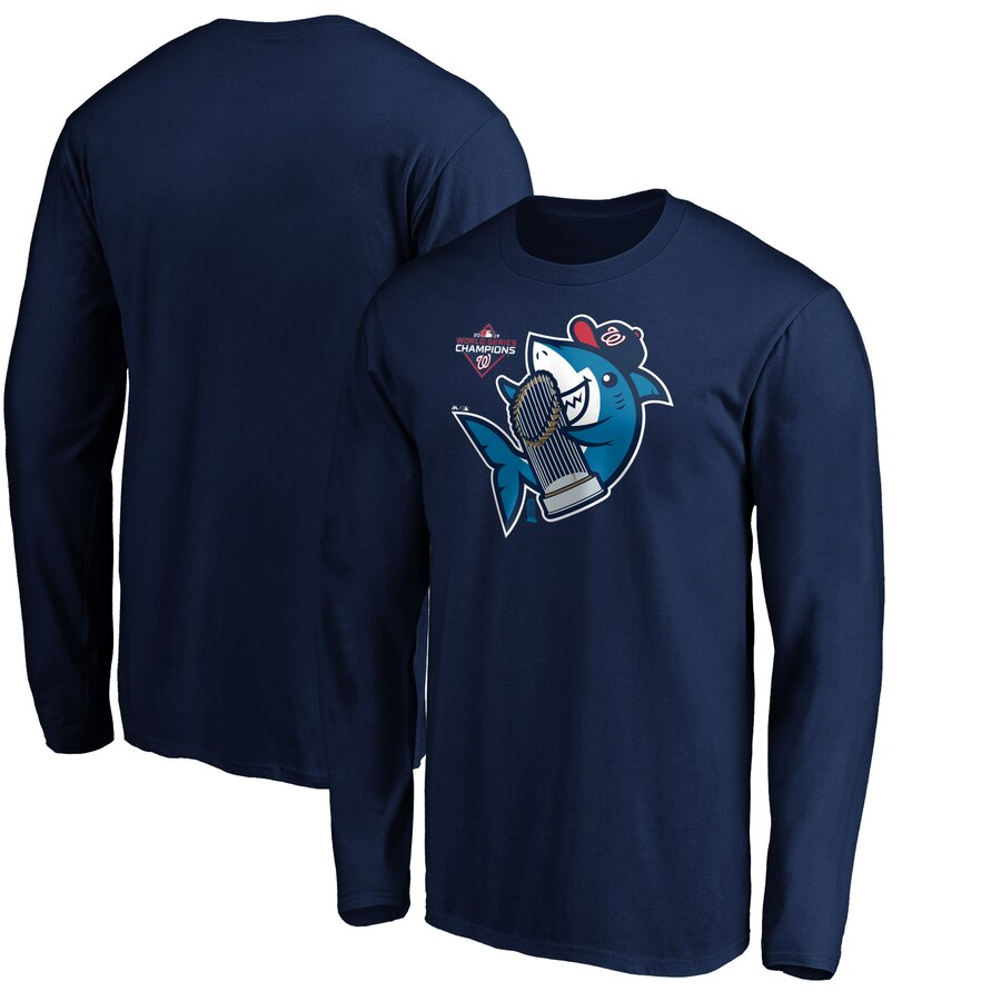 Washington Nationals Majestic 2019 World Series Champions Trophy Shark Long Sleeve T-Shirt Navy
