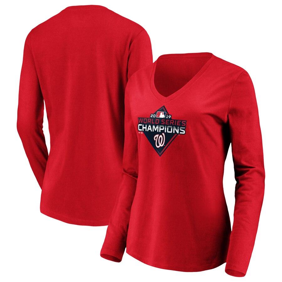 Washington Nationals Majestic Women's 2019 World Series Champions Logo Long Sleeve V-Neck T-Shirt Red