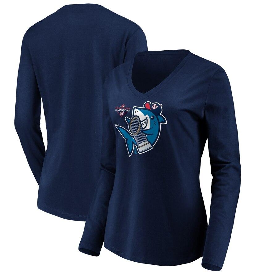 Washington Nationals Majestic Women's 2019 World Series Champions Trophy Shark Long Sleeve V-Neck T-Shirt Navy