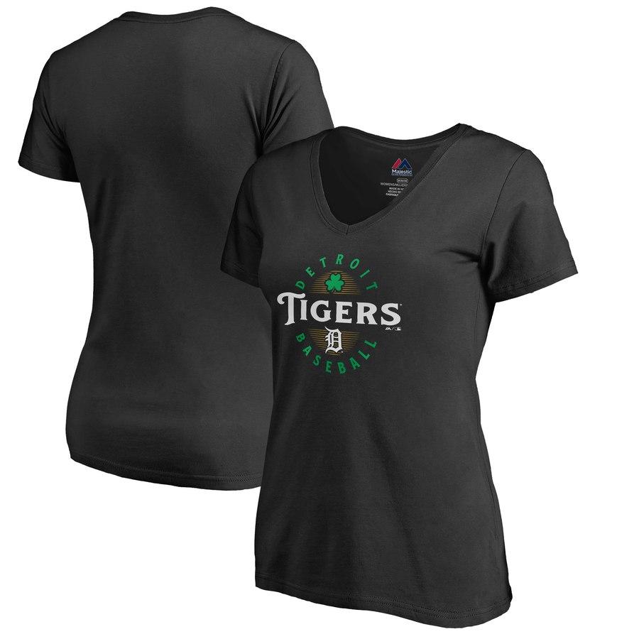 Detroit Tigers Majestic Women's Forever Lucky V-Neck T-Shirt Black